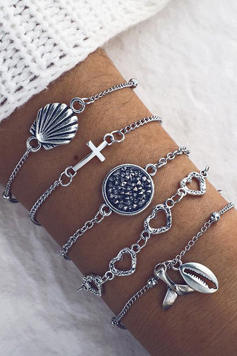 Multi-Bracelet Set With Seashell Designs