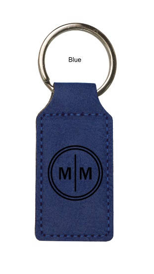 Circle Initial Keychain - Vegan Leather