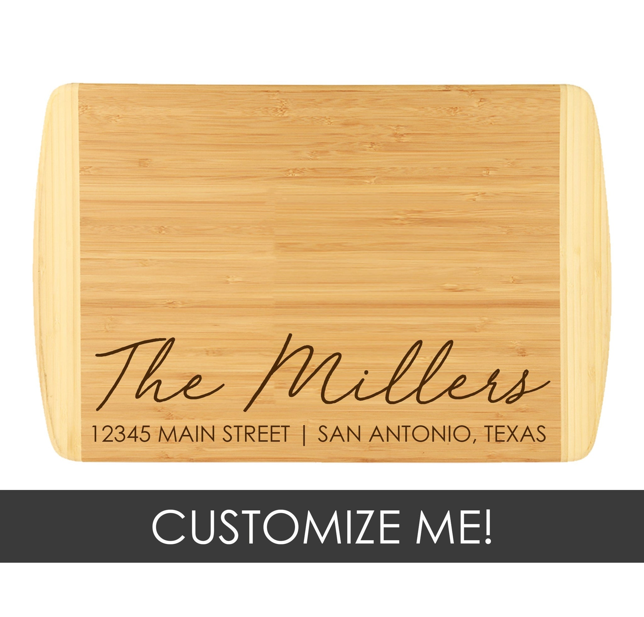 Two-Tone Cutting Board - Family Name + Address