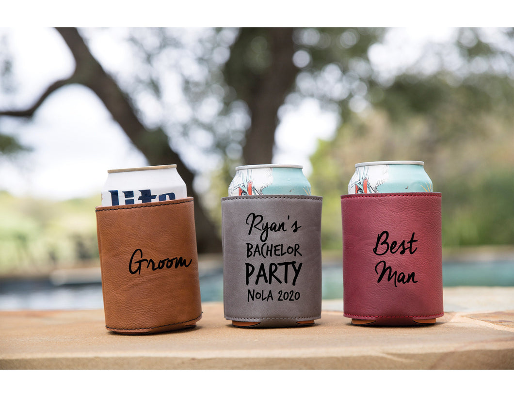 Bachelor Party Beverage Holders - Vegan Leather