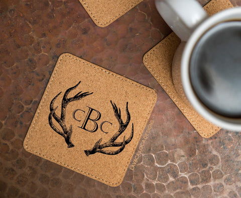 Antler Cork Coasters - Set of 6
