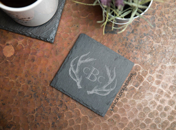 Antler Slate Coasters - Set of 6