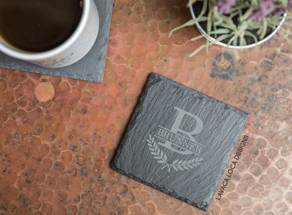 Laurel Wreath Slate Coasters - Set of 6