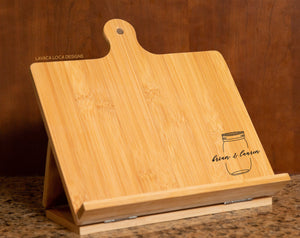 Mason Jar Chef's Easel - Cookbook Stand, Tablet Holder