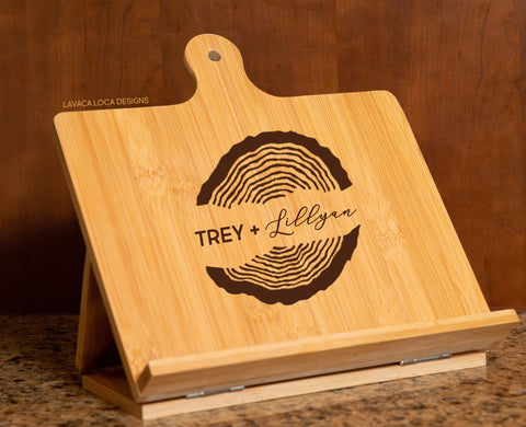 Wood Rings Chef's Easel - Cookbook Stand, Tablet Holder
