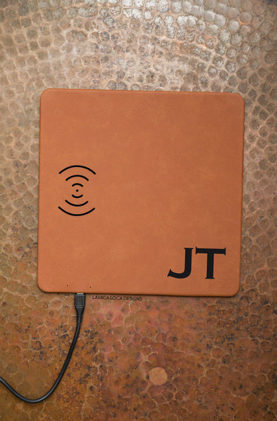 Custom Initials Charging Mat - Vegan Leather, Wireless Charger