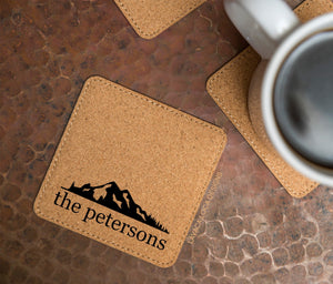 Mountain Range Cork Coasters - Set of 6