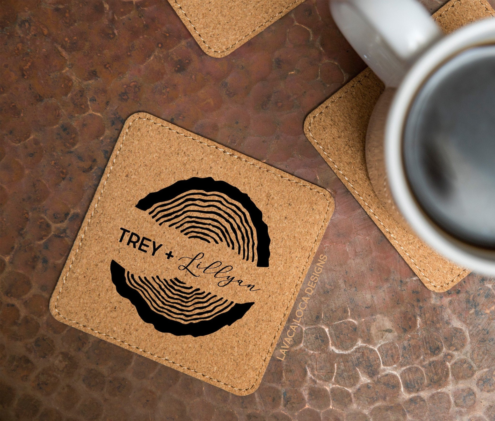 Wood Rings Cork Coasters - Set of 6