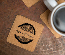 Load image into Gallery viewer, Wood Rings Cork Coasters - Set of 6