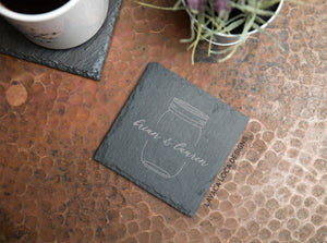 Mason Jar Slate Coasters - Set of 6