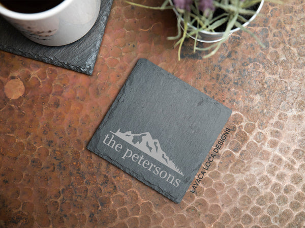 Mountain Range Slate Coasters - Set of 6