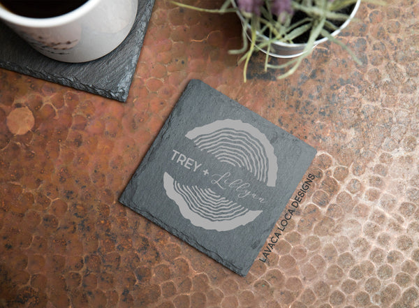 Wood Rings Slate Coasters - Set of 6
