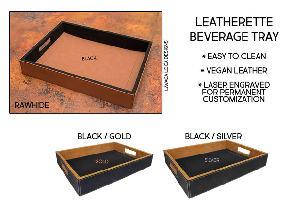 Wood Rings Serving Tray - Vegan Leather