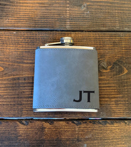 Initial Flask - Vegan Leather, Groomsman, Best Man, Wedding Party Gift