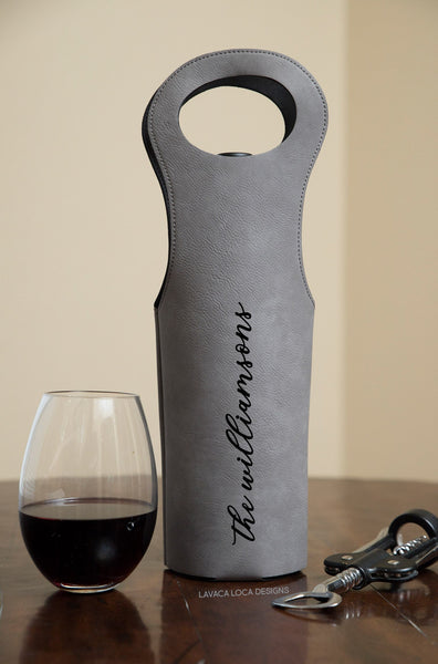 Custom Name Wine Tote - Vegan Leather