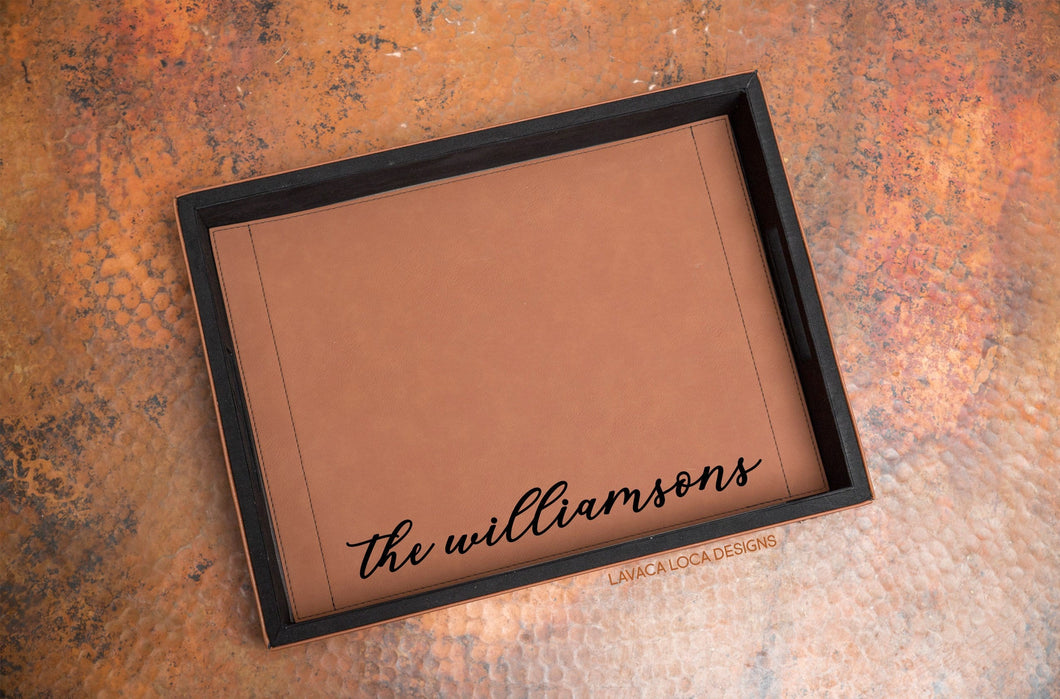 Custom Name Serving Tray - Vegan Leather