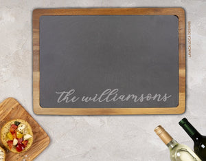 Custom Name Wood/Slate Cheese Board - Acacia Wood