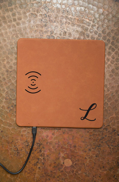 Cursive Initial Charging Mat - Vegan Leather, Wireless Charger
