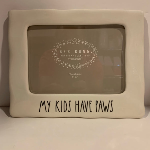 RAE DUNN ARTISAN COLLECTION BY MAGENTA PHOTO FRAME 'MY KIDS HAVE PAWS' 5 X 7 IN