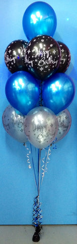 4 Metallic & 6 Print Balloon Arrangement - Stacked