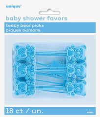 Baby Shower Blue Teddy Bear Picks (18 pack)