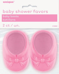 Baby Shower Crystal Baby Boots - Pink (2 pack)