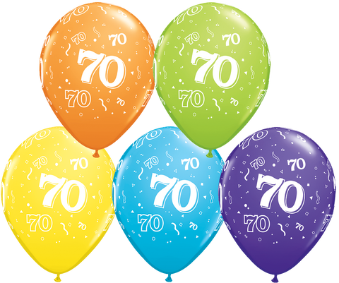 70th Birthday Latex Balloons - (6 pack)