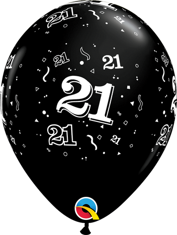 21st Birthday Latex Balloons Black - (6 pack)