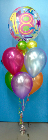 18th Birthday Bubble & 6 Metallic Balloon Arrangement