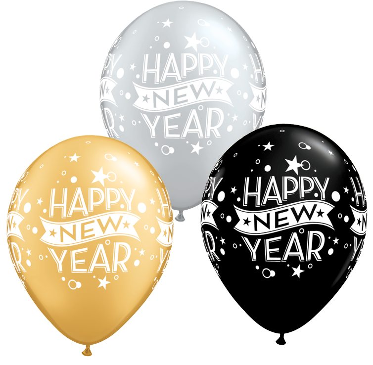 Happy New Year Silver Gold Black Latex Balloons 8 Pack