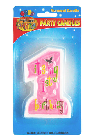 1st Birthday Jumbo Candle - Pink