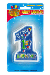 1st Birthday Jumbo Candle - Blue