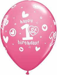 1st Birthday Circle Hearts Latex Balloons - Girl (8 pack)