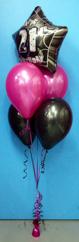 21 Star Foil & 4 Metallic Balloon Arrangement - Stacked
