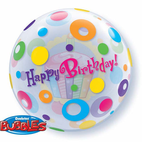 "Birthday Cupcake & Dots - 22""/55cm"