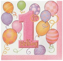 1st Birthday Pink Luncheon Napkins - 2 ply (16 pack)