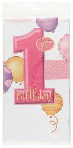1st Birthday Pink Plastic Table Cover - Rectangle