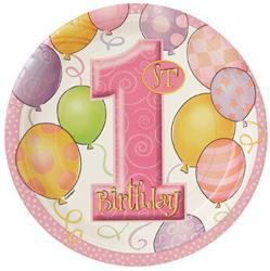 1st Birthday Pink Paper Dinner Plates (8 pack)