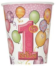 1st Birthday Pink Paper Cups 270ml (8 pack)