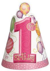 1st Birthday Pink Party Hats (8 pack)