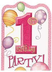 1st Birthday Pink Party Invitations (8 pack)