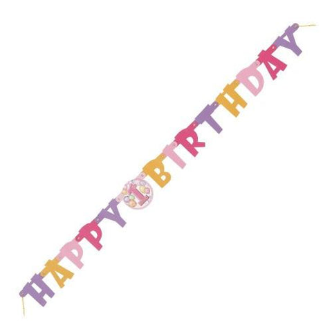 1st Birthday Pink Party Banner (1.2m)