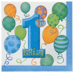 1st Birthday Blue Luncheon Napkins - 2 ply (16 pack)