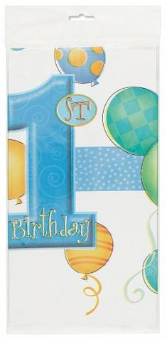 1st Birthday Blue Plastic Table Cover - Rectangle