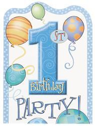 1st Birthday Blue Party Invitations (8 pack)