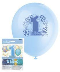 1st Birthday Blue Printed Latex Balloons (8 pack)