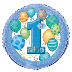 1st Birthday Blue - Foil Balloon - 46 cm