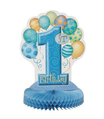 1st Birthday Blue Honeycomb Centrepiece