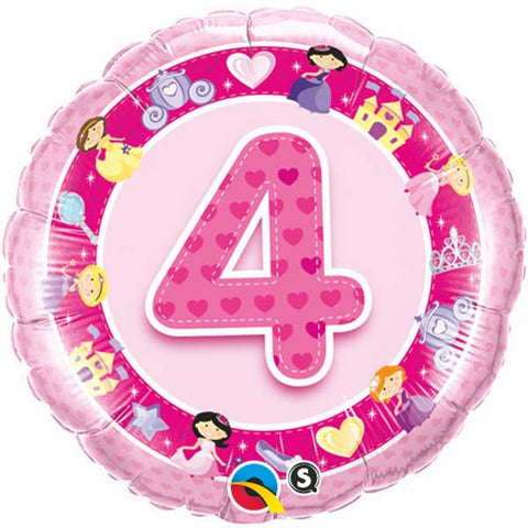 Age 4 Pink Princess Foil Balloon - 46cm
