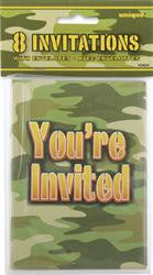 Camo Party Invitations (8 pack)